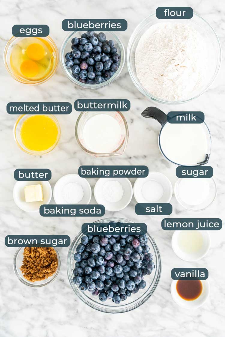 overhead shot of all ingredients needed to make blueberry buttermilk pancakes