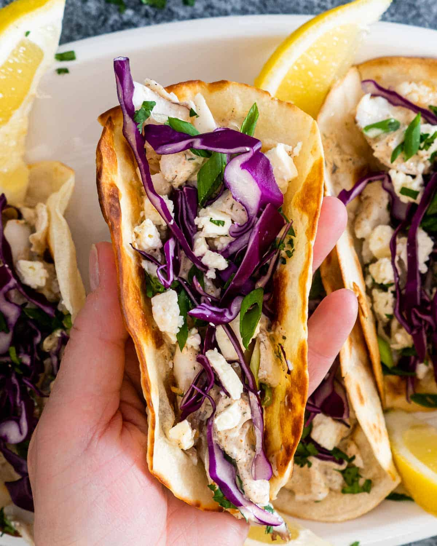 a hand holding a fresh fish taco.
