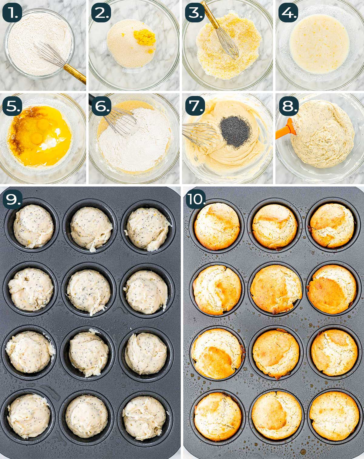 process shots showing how to make lemon poppy seed muffins with lemon glaze