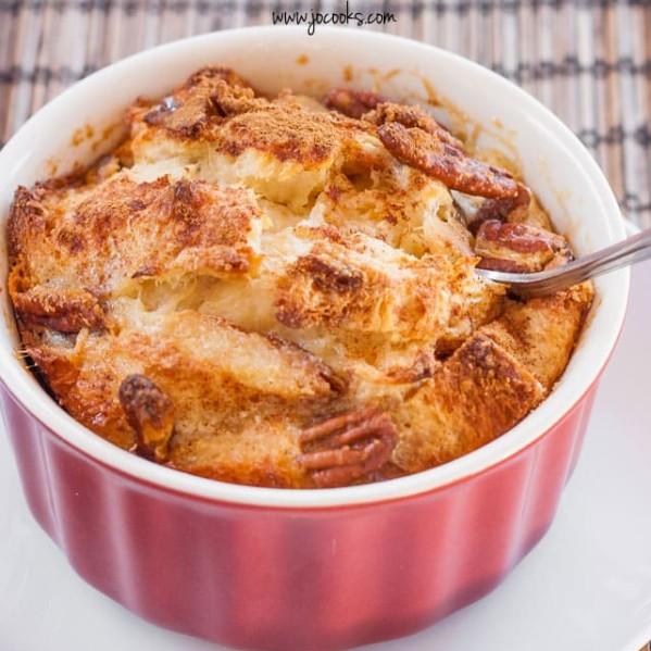 a dish of bread pudding made with raisin bread