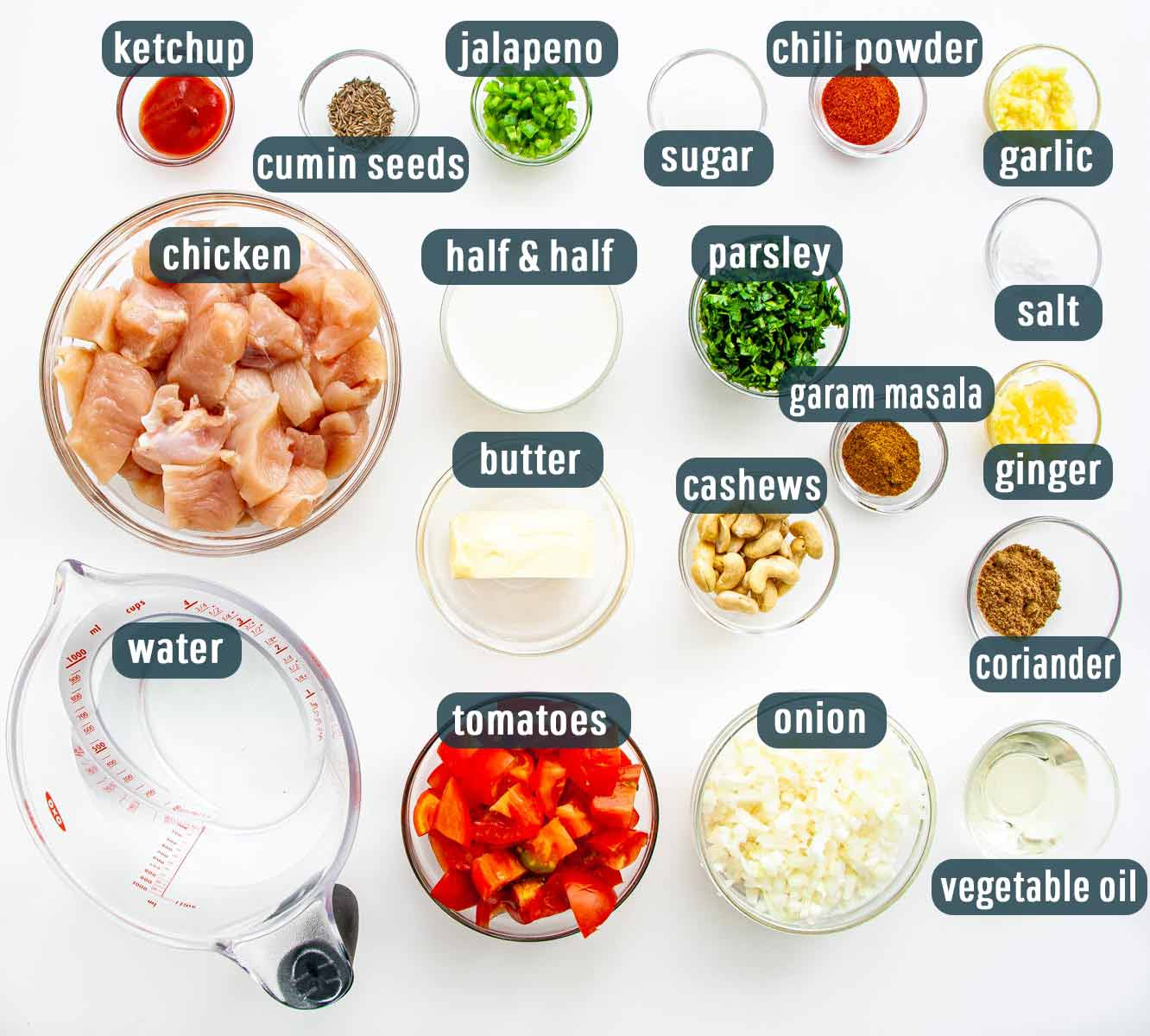 overhead shot of all ingredients needed to make butter chicken