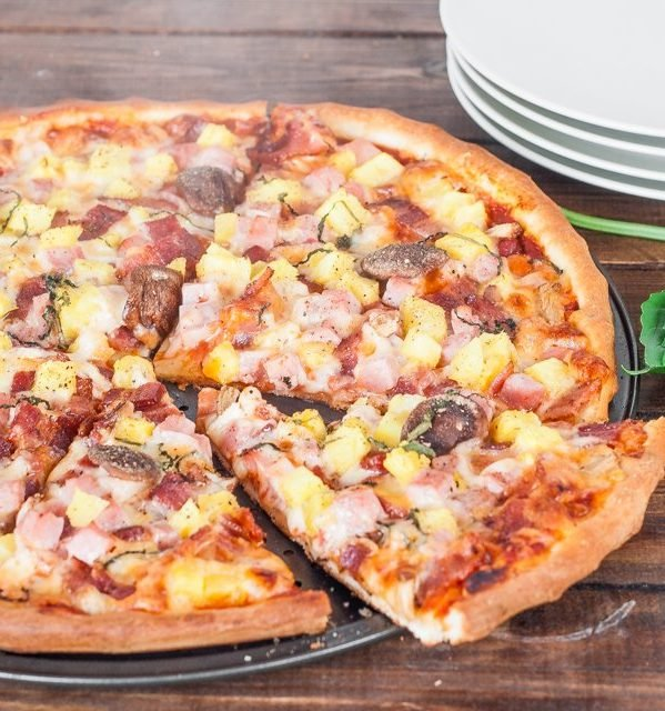 freshly baked hawaiian pizza