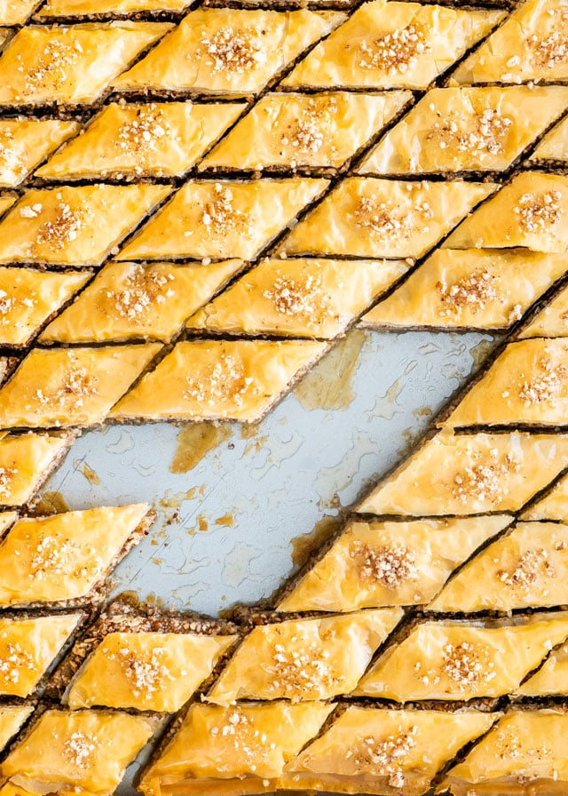 Baklava Recipe in a baking pan