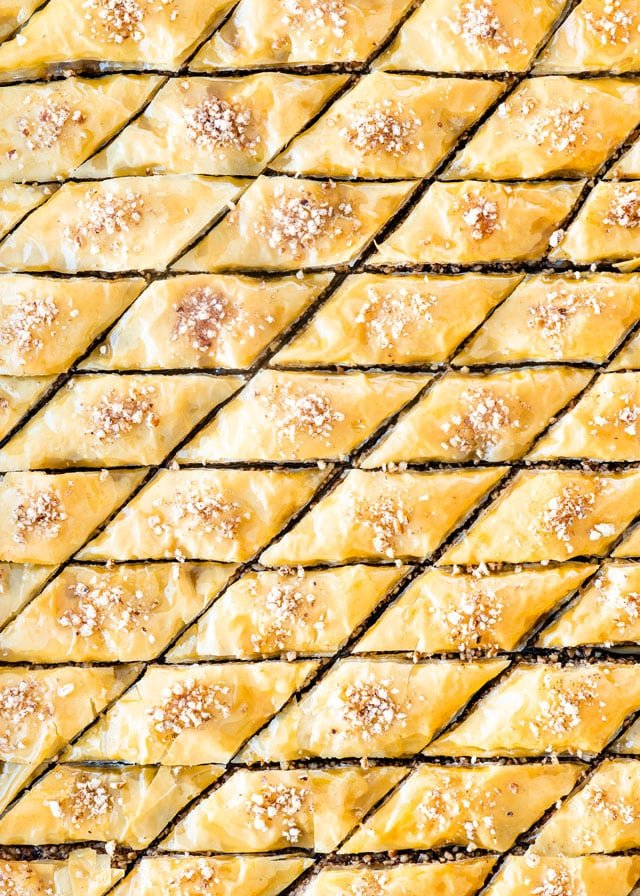 Baklava in a baking pan