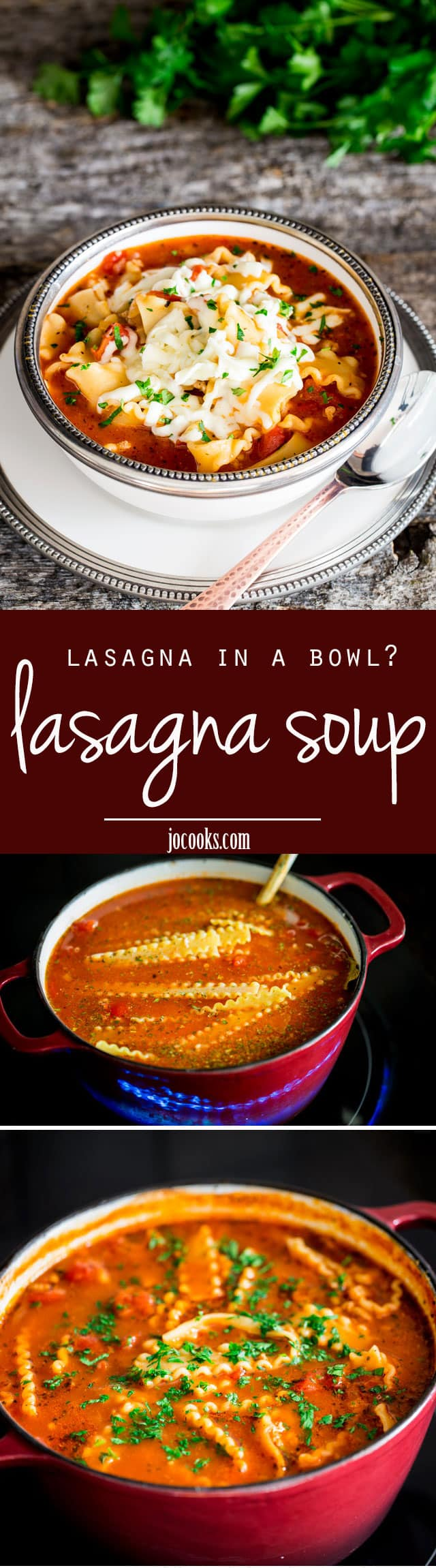 Lasagna Soup - All the flavors of traditional Lasagna but in a bowl! Perfect for those times when you're craving lasagna but lack the time.