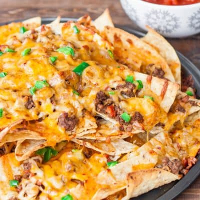 Beef and Cheese Nachos with Chorizo Sausage