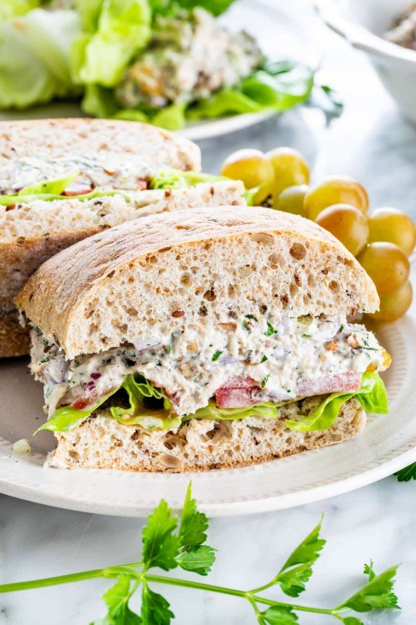 side view shot of a tuna salad sandwich