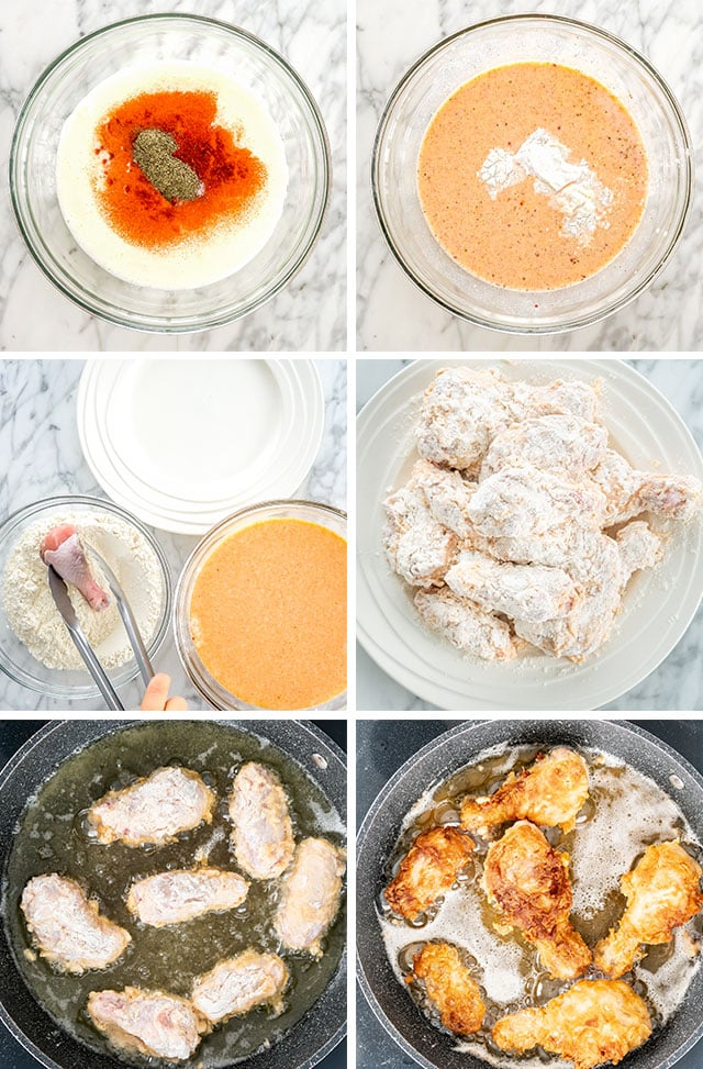 Buttermilk Fried Chicken process shots