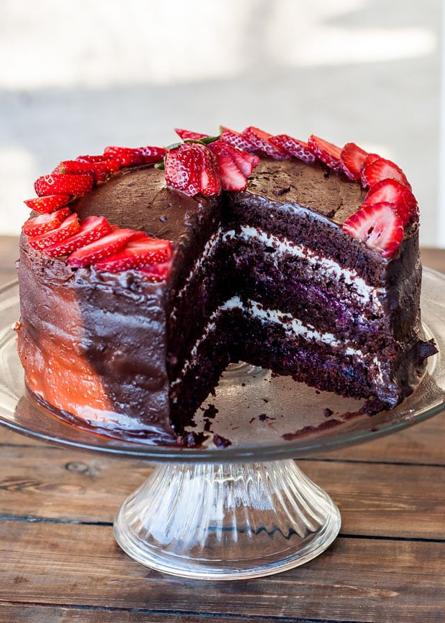 5 Layer Chocolate Cake With Mixed Berry And Cream Cheese Filling Perfect For A Special Occasion