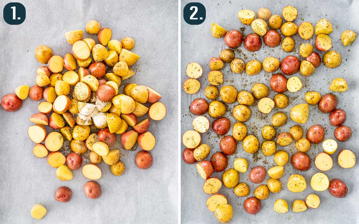 process shots showing how to make roasted baby potatoes.