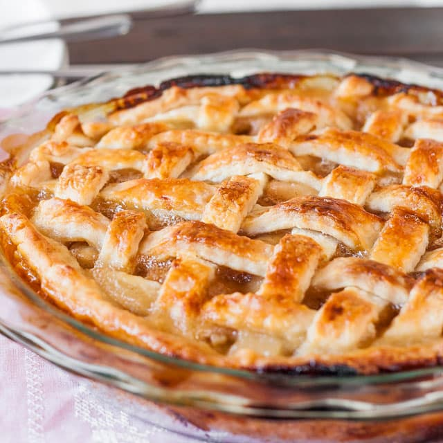 close up shot of Scrumptious Caramel Pear Pie