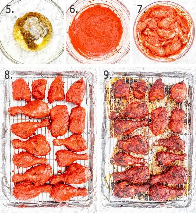 tandoori chicken process shots for marinating the chicken