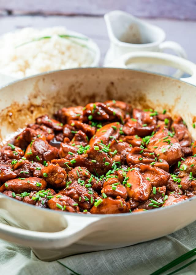 This Bourbon Chicken is a flavorful chicken dish where the chicken is marinated in a bourbon and soy sauce marinade. Served over rice, this dish is easy and delicious!