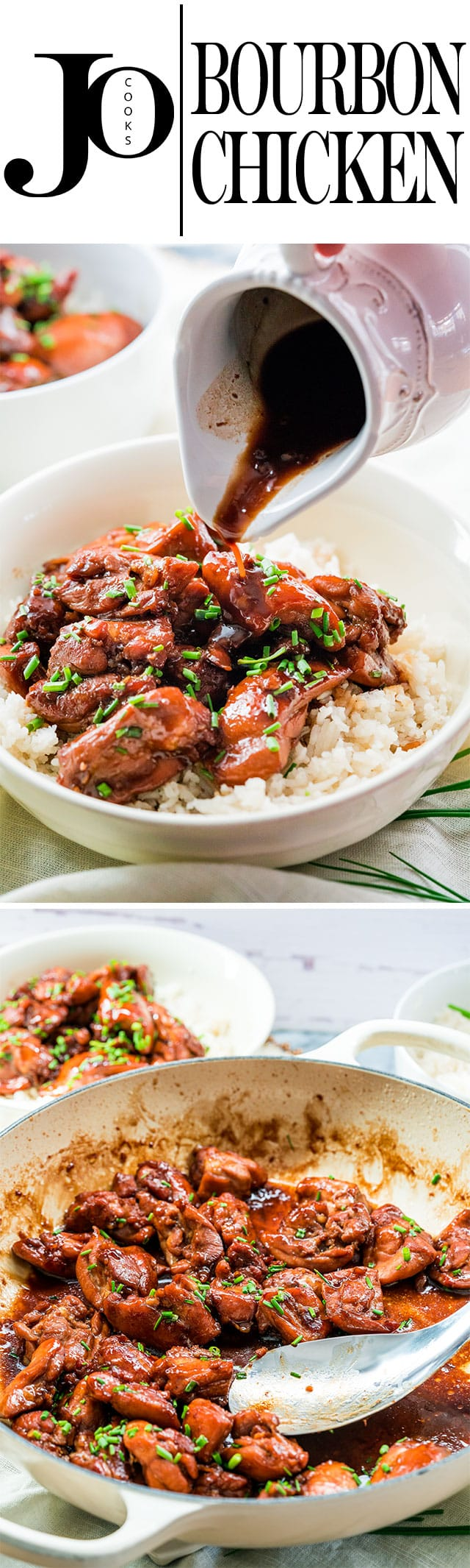 This Bourbon Chicken is a flavorful chicken dish where the chicken is marinated in a bourbon and soy sauce marinade. Served over rice, this dish is easy and delicious! www.jocooks.com #bourbonchicken