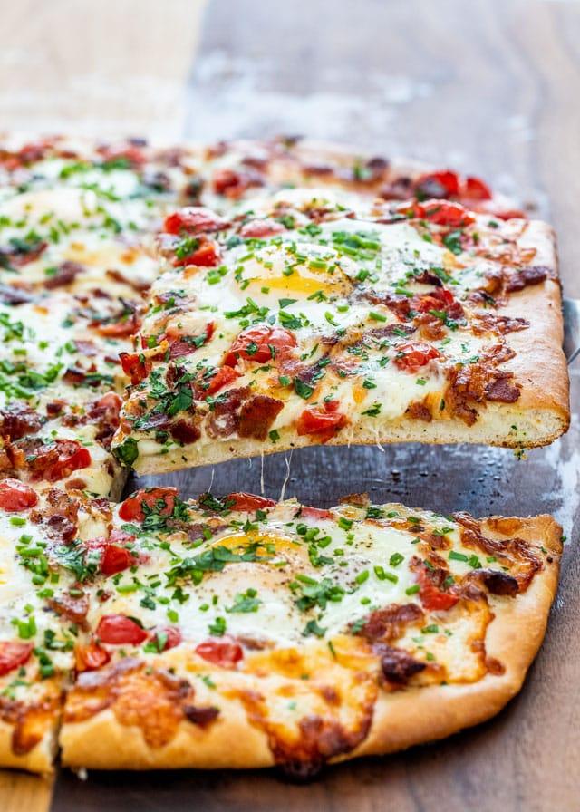 Breakfast Pizza on a cutting board