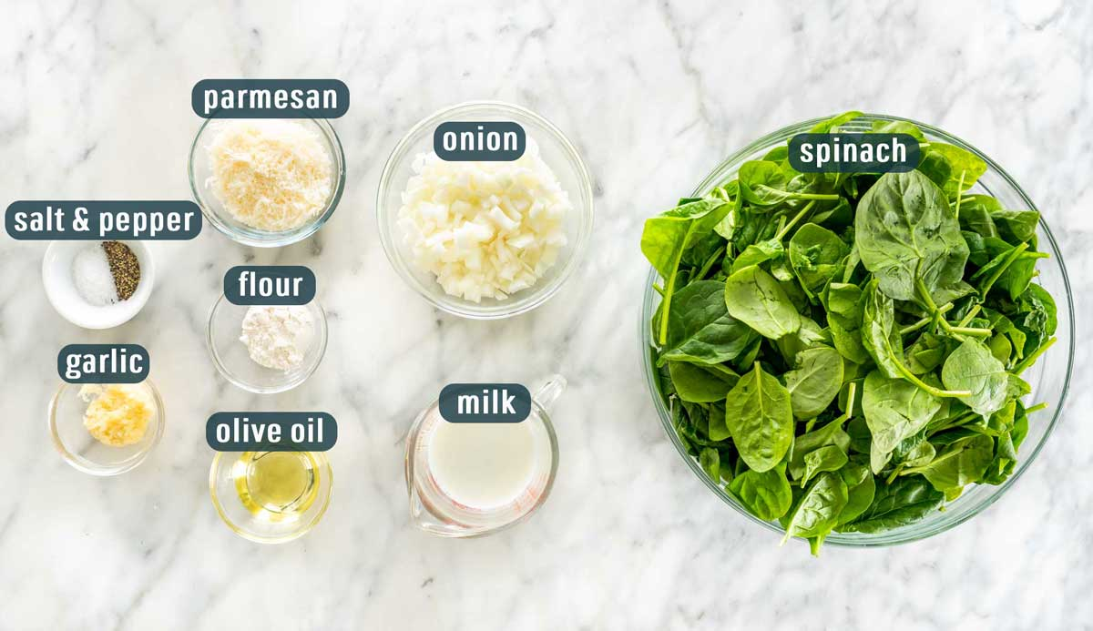 overhead shot of all the ingredients needed to make creamed spinach.