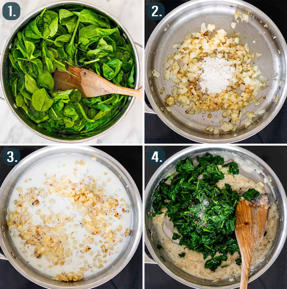 process shots showing how to make creamed spinach.