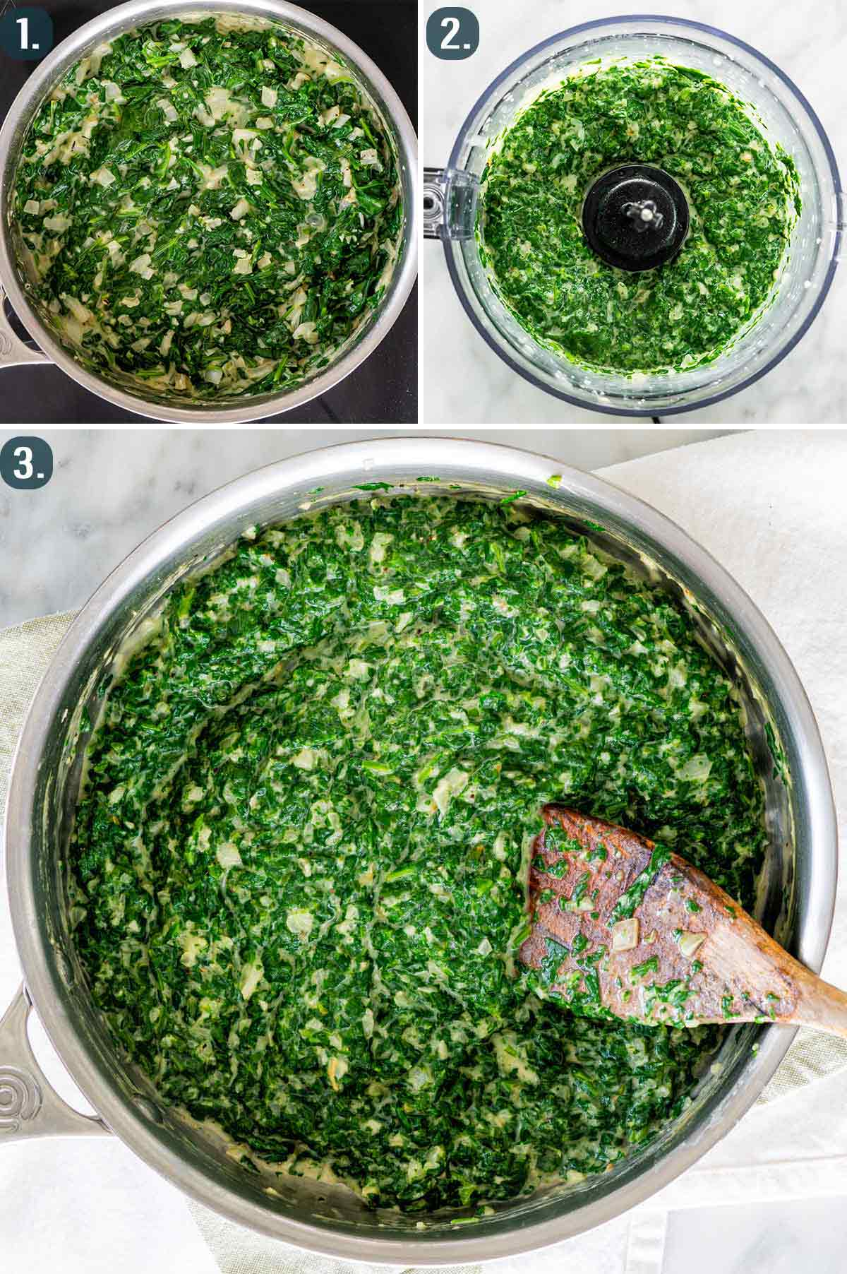 process shots showing how to process cream spinach and make it smooth.