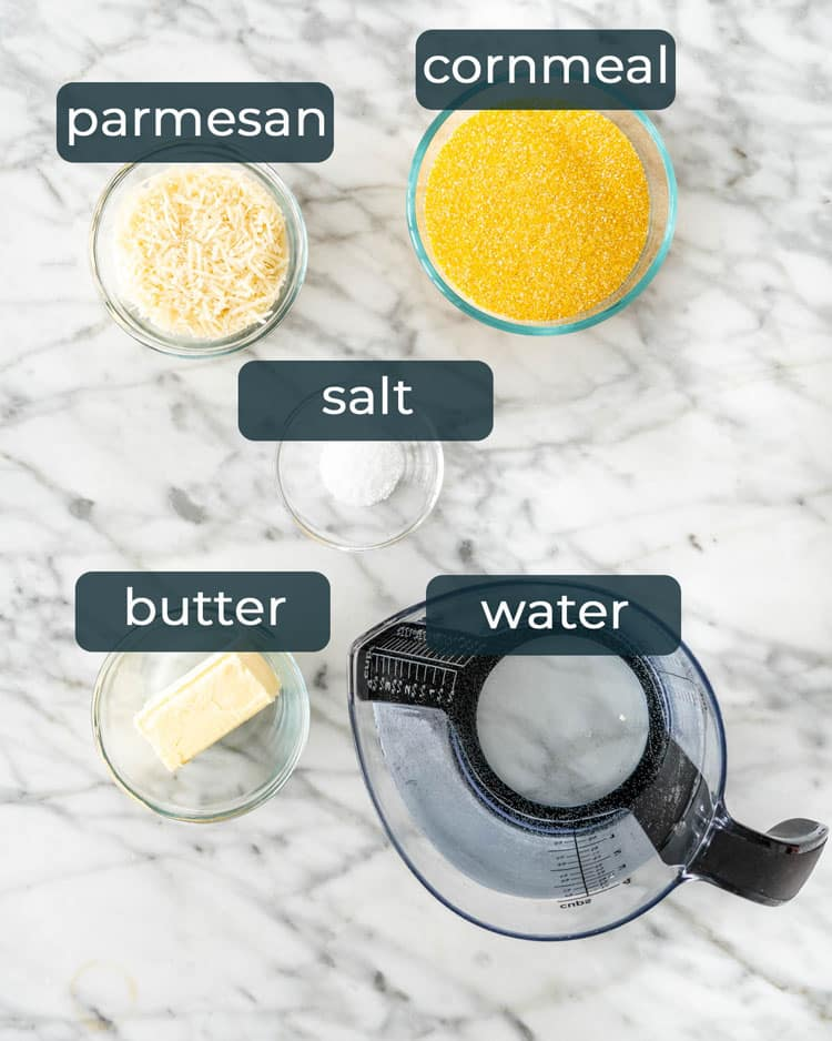 overhead shot of ingredients needed to make Creamy Polenta