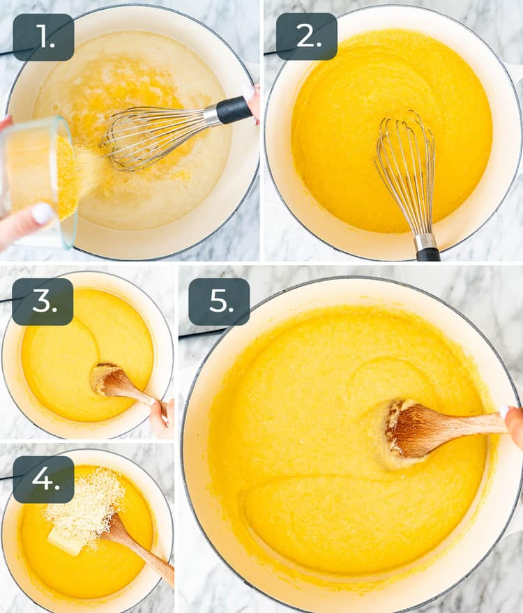 process shots showing how to make Creamy Polenta