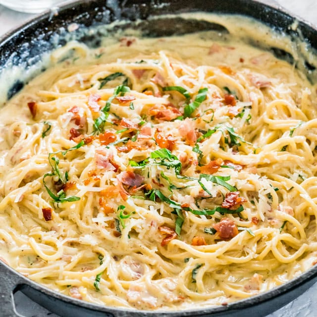 creamy carbonara in a cast iron skillet
