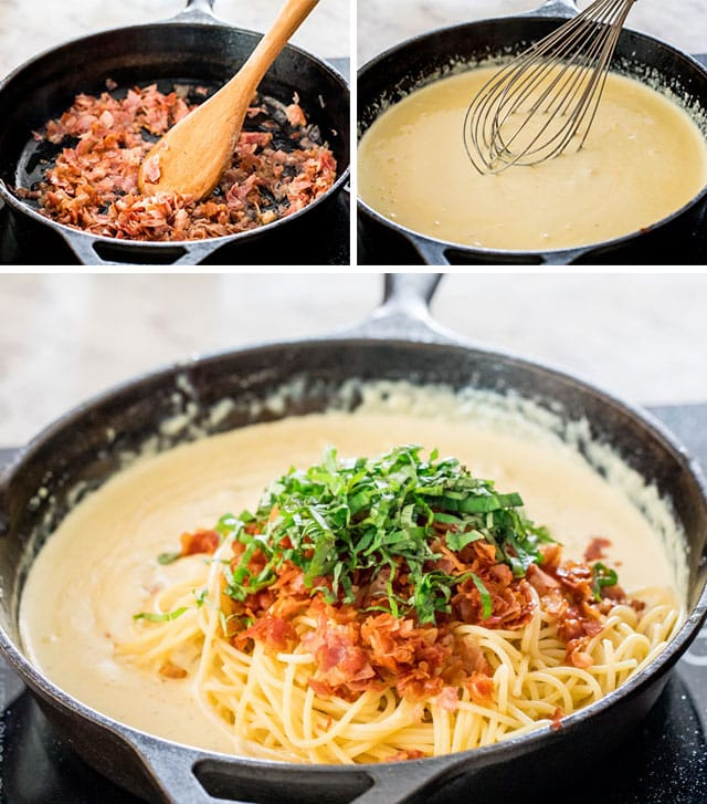 process shots for making creamy carbonara
