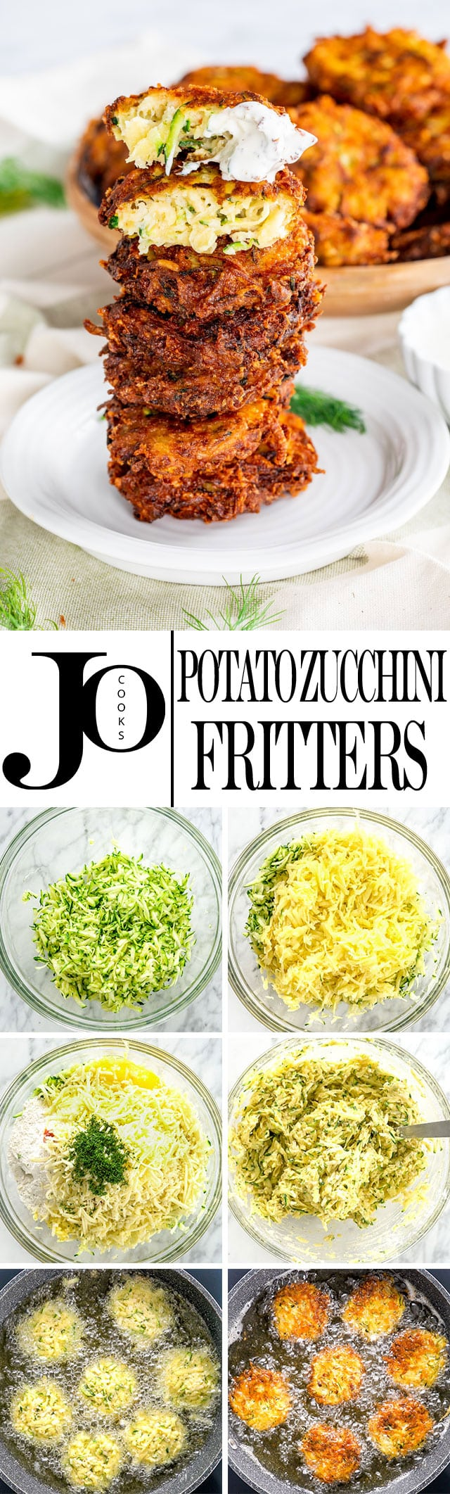 These Potato Zucchini Fritters are loaded with potatoes, zucchini and mozzarella cheese. They are so good, they'll be gone before you're done frying them all. #zucchini #potatozucchinifritters #zucchinifritters