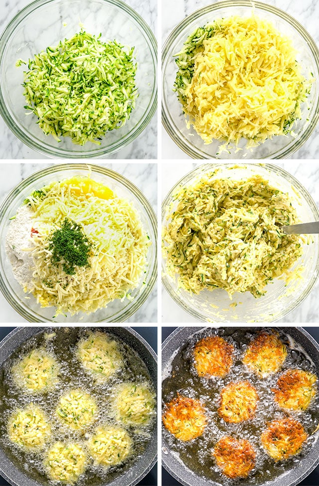 Potato Zucchini Fritters process shots