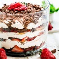side view shot of the strawberry tiramisu trifle