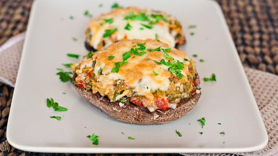 Stuffed Portobello Mushrooms – these mushrooms are stuffed with lots of veggies plus goat cheese and topped with mozzarella cheese.