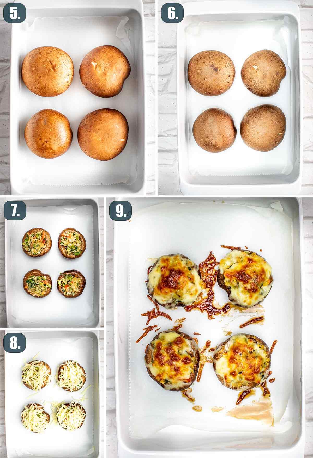process shots showing how to assemble and stuff portobello mushrooms.