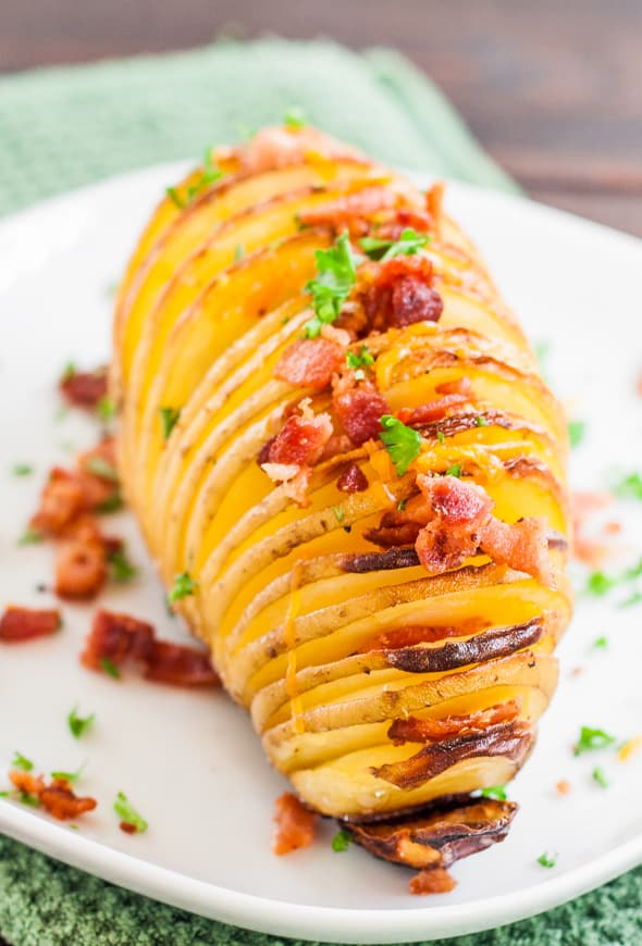 Hasselback Potatoes with Cheese and Bacon