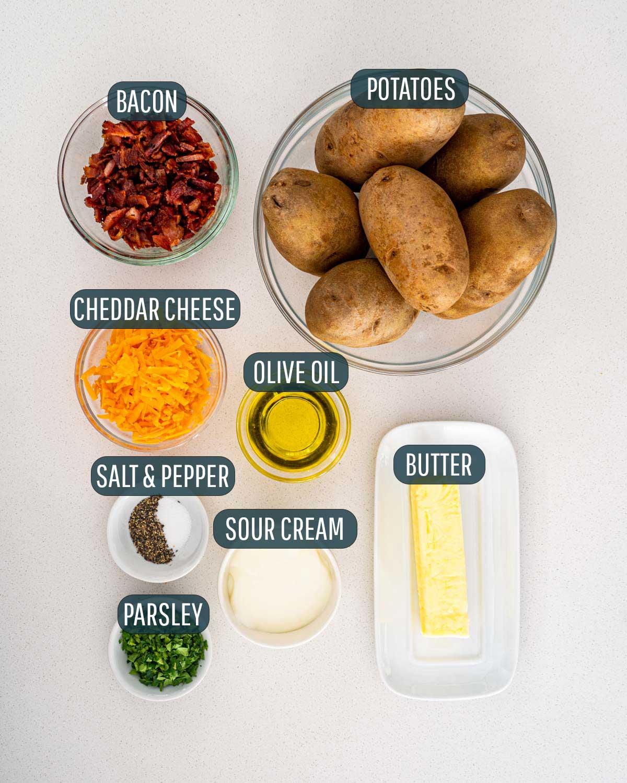 overhead shot of ingredients needed to make hasselback potatoes.