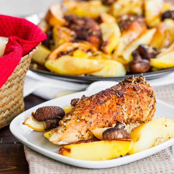 Rosemary Lemon Chicken with Potatoes and Mushrooms