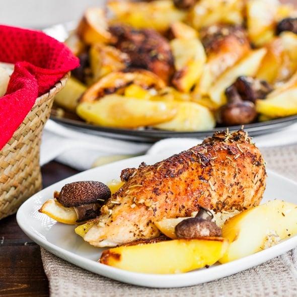 Rosemary Lemon Chicken with Potatoes and Mushrooms