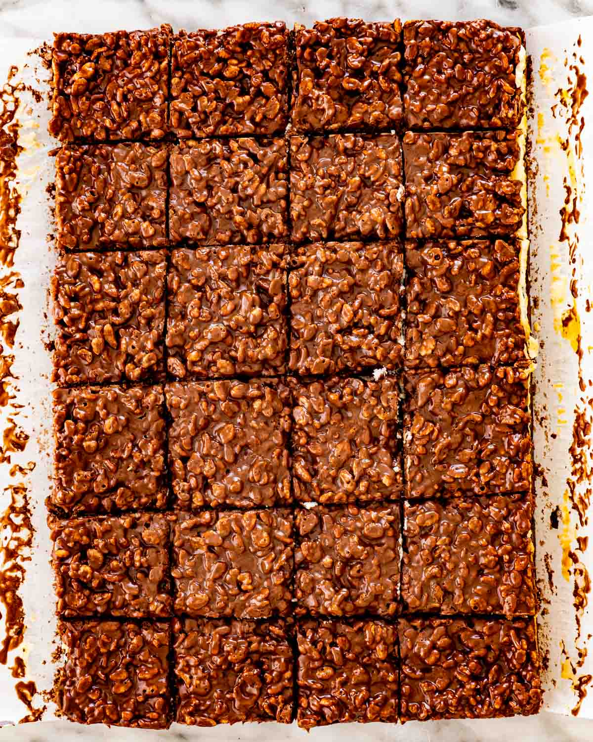 triple layer brownies cut into 24 squares