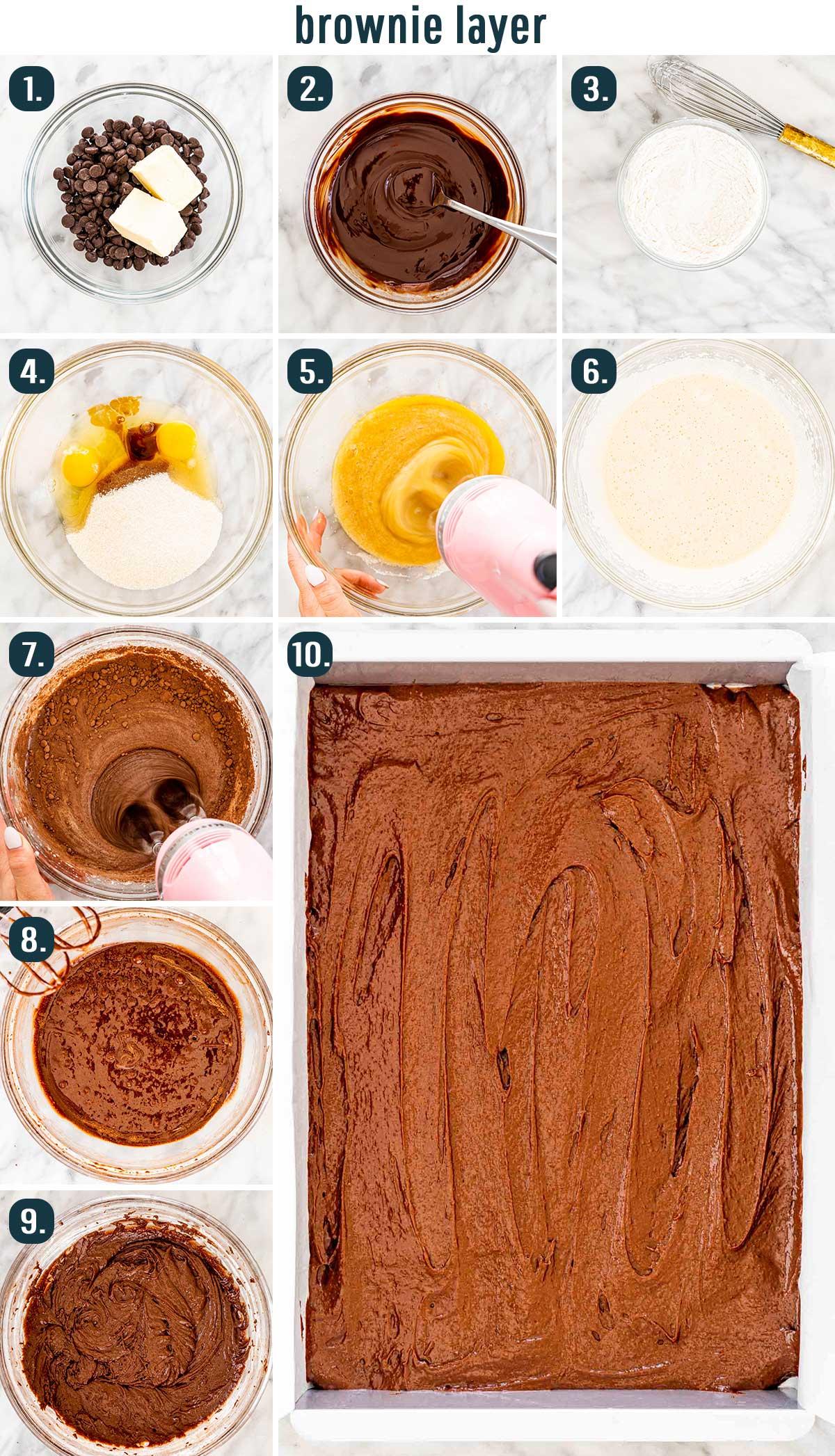 process shot showing how to make brownies