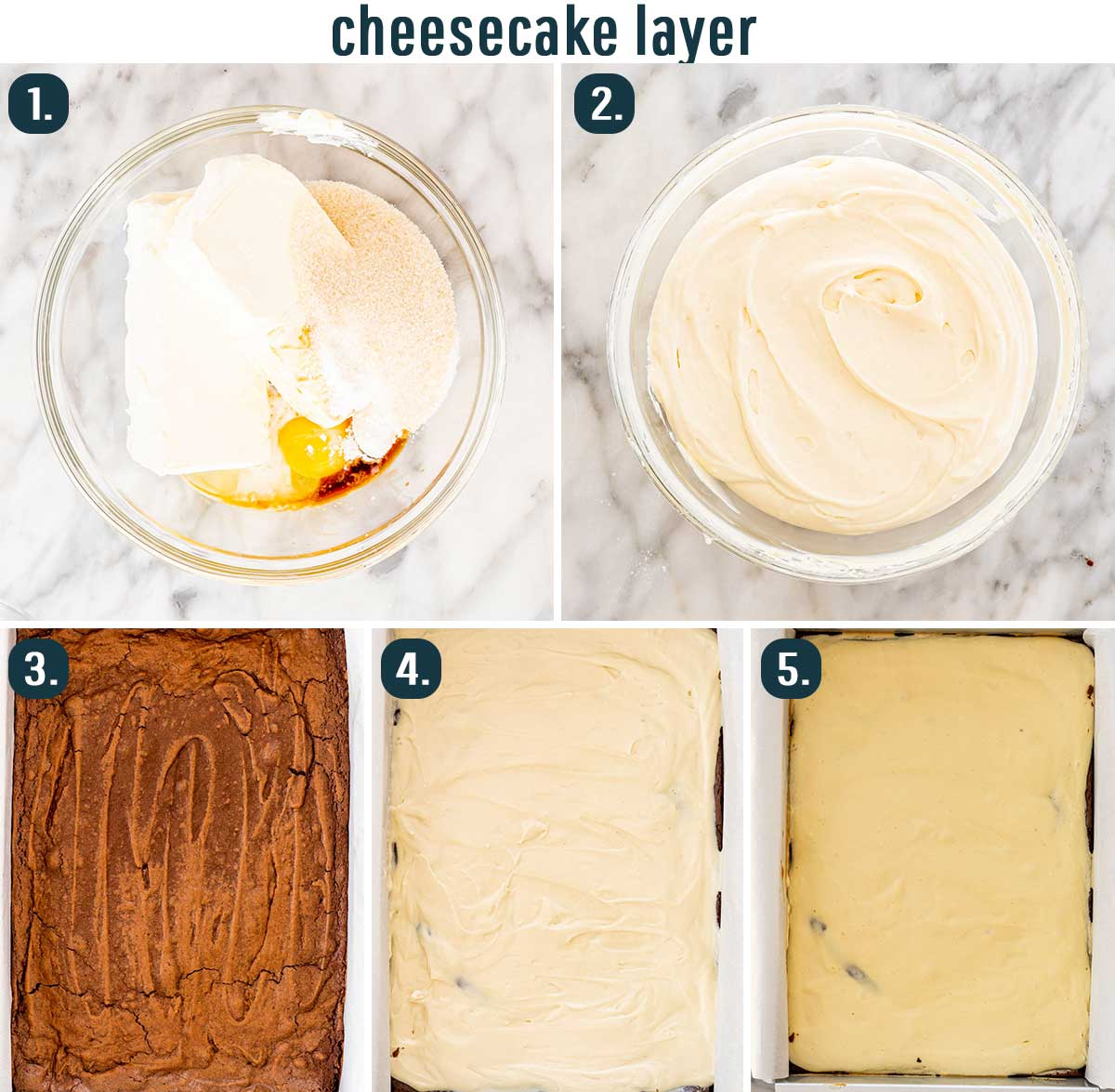 process shots showing how to make cream cheese layer for triple layer brownies