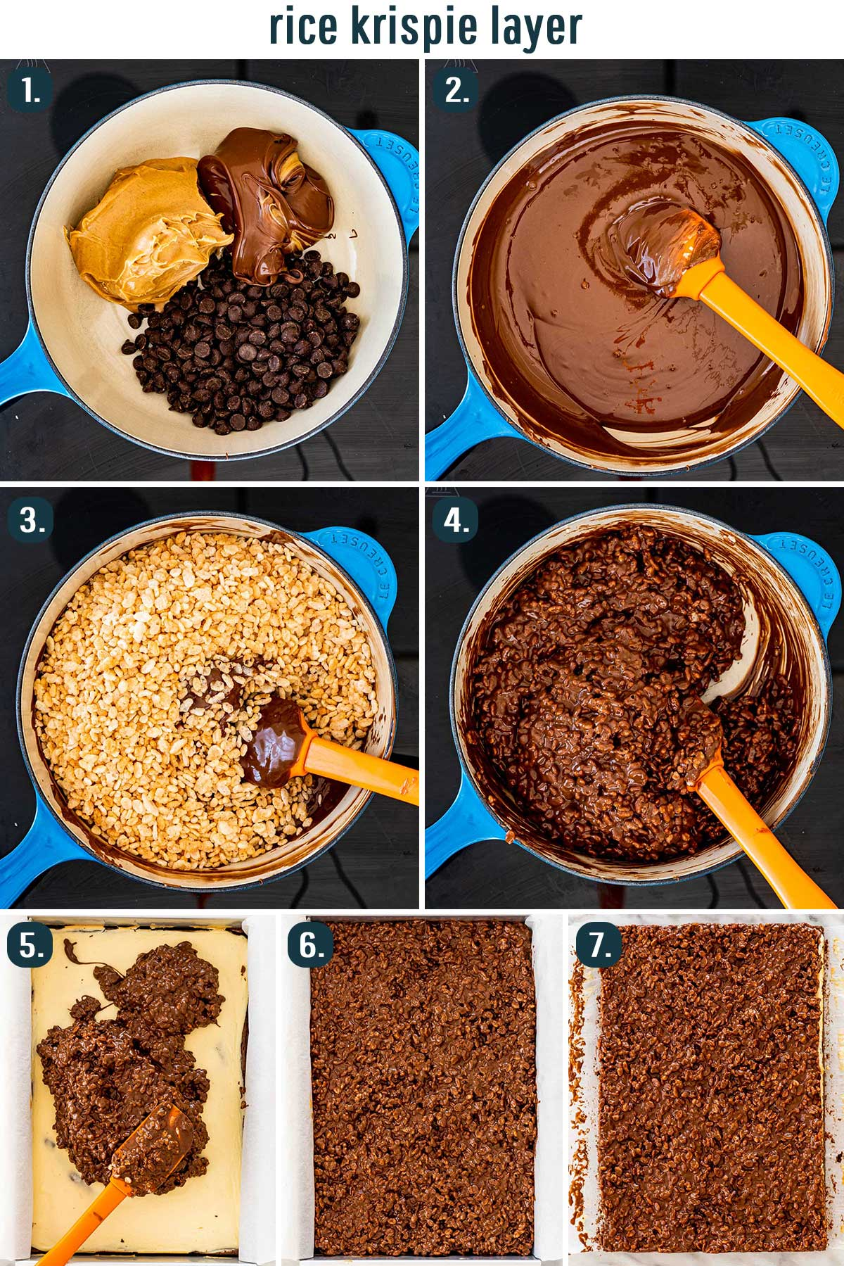 process shots showing how to make the rice krispie layer for brownies