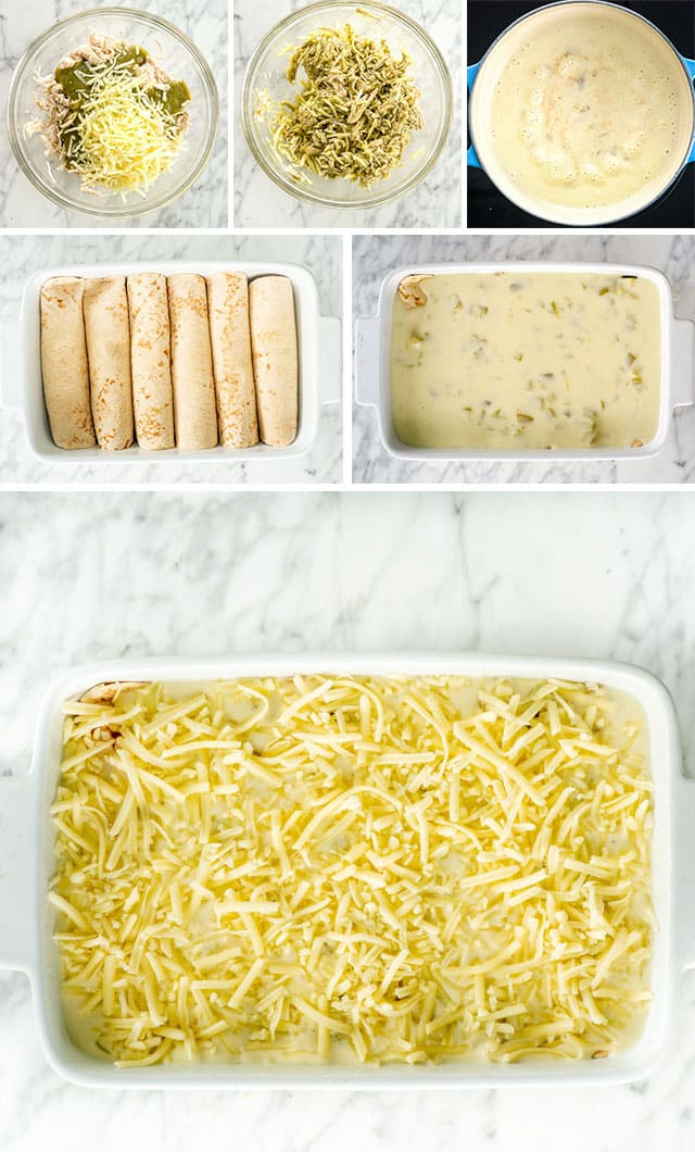 process shots for White Chicken Enchiladas