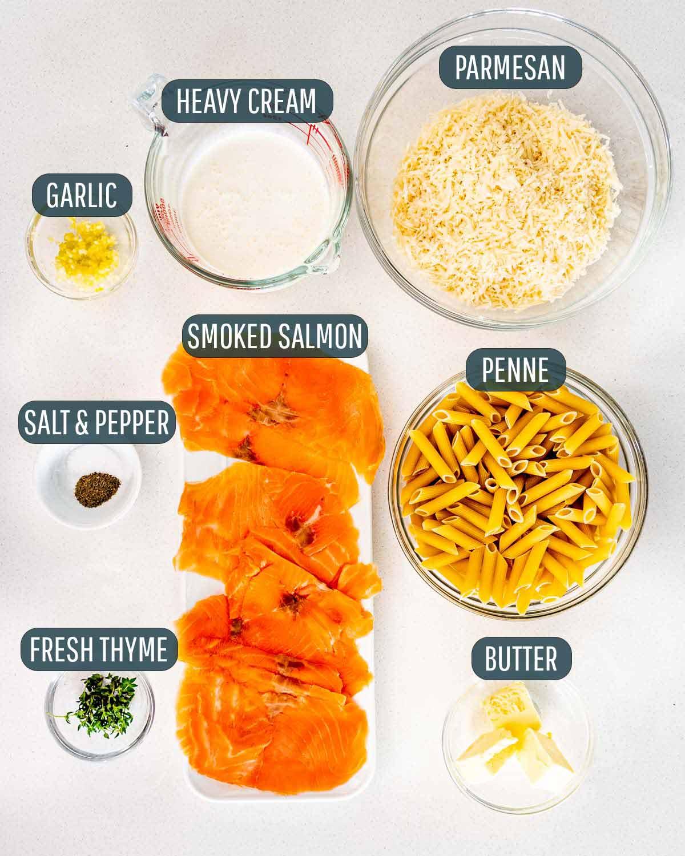 overhead shot of ingredients needed to make alfredo salmon pasta.