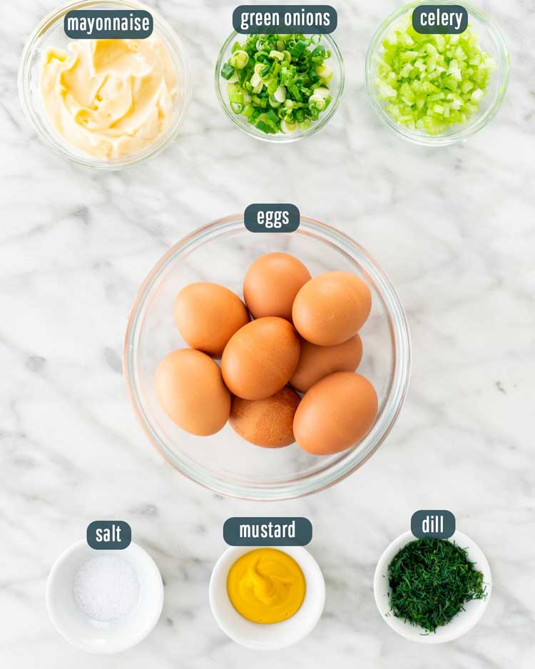 overhead shot of ingredients needed to make egg salad
