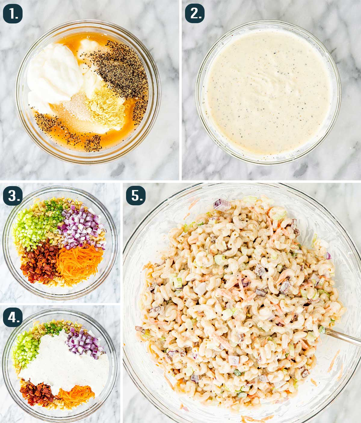 process shots showing how to make macaroni salad