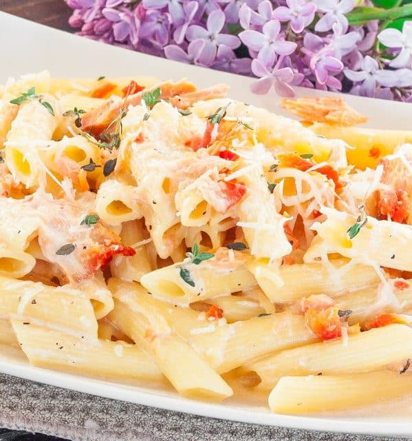 penne with cream and smoked salmon on a plate