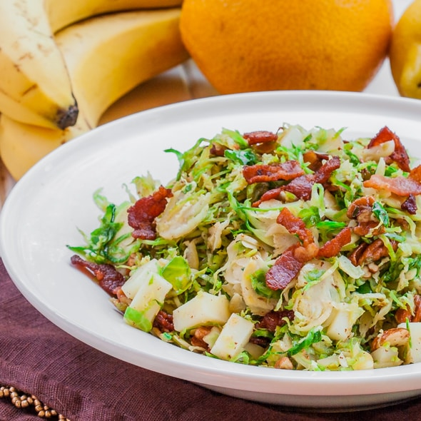 a bowl of the ultimate brussels sprout salad