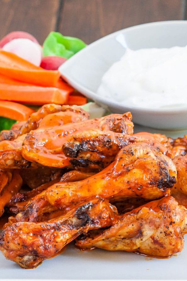 baked buffalo chicken wings on a plate