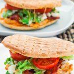 a bbq ranch chicken sandwich on a plate