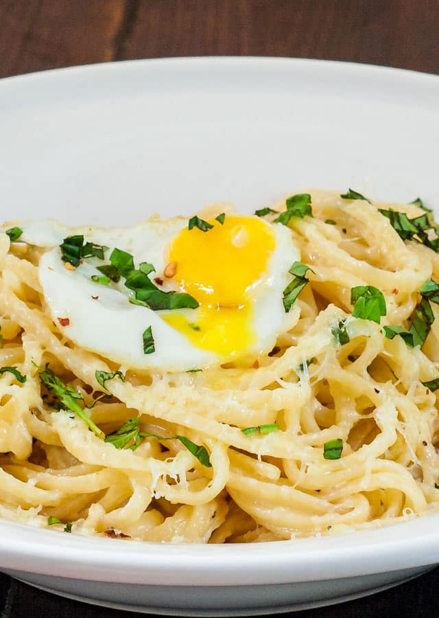 Close up shot of Lazy Linguini with Quail Eggs