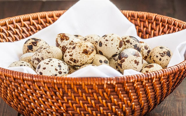 Basket of Quail eggs