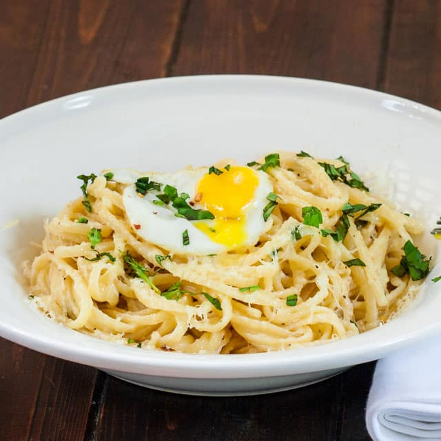 Lazy Linguini with Quail Eggs